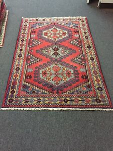 """On Sale S.Antique Hand Knotted Vintage Tribal Area Rug Geometric 3'5""""x5'1"""",#2776"""