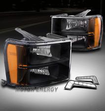 FOR 07-13 GMC SIERRA 1500 2500 3500 AMBER BLACK HEADLIGHT LAMP W/DRL LED SIGNAL