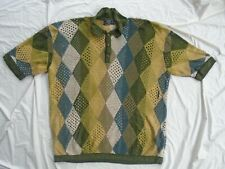 Men's Vintage COOGI Australia Haute Couture 2X Earth Tone 1/4 Button short sleev