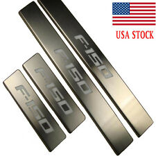 LED Light Illuminated Stainless 4 Door Sill Protector Scuff Plate Guard For Ford