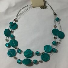 """Turquoise Color Silver Tone Multi Strand Statement Necklace 17"""" with Ext New"""