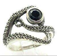 925 Sterling Silver Hank Ocean Octopuses Sizes 6-10 Octopus Tentacles Ring