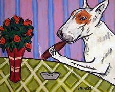 bull terrier cigar dog Prints 8.5x11 art Print impressionism animals new