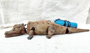 """1950s Vintage Battery Operated Crocodile Remote Tin Toy Rare Working Japan 17.5"""""""