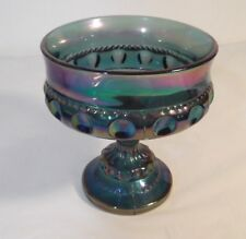 Vintage Indiana Iridescent Blue Thumbprint Carnival Glass Compote Candy Dish