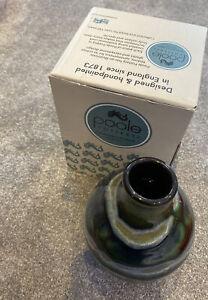 New Poole Pottery Maya green bud vase 12.5cm & box green round