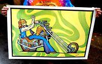 Vintage NOS Original 1970s Harley Motorcycle Chopper Poster Vagabond Psychedelic
