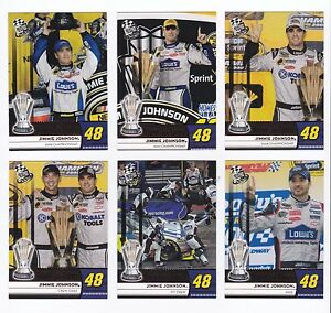 """2009 Press Pass RED Jimmie Johnson """"Hunt For Four"""" 6 card Subset, all for $1!!"""
