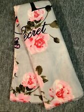 Victoria's Secret Floral Sherpa Cozy Plush Blanket Gray Pink Roses Love 50 x 60