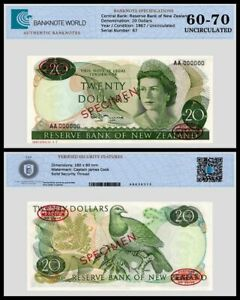 New Zealand 20 Dollars Banknote, 1967-1968 ND, P-167as, UNC, Specimen, TAP 60-70
