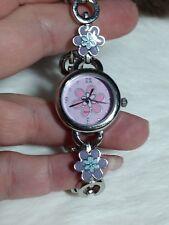 Womens/Girls Hippie Flower Silvertone Bracelet watch - diff colors