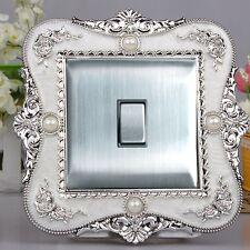 Luxurious Embossment White Surface & Silver Flower Light Switch Surround,Sticker