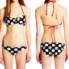 HELLO KiTTy SWIM RetrO PoLkA DoT PRiNT 2Pc Bikini SwimSuit SET Red Halter Tie XS