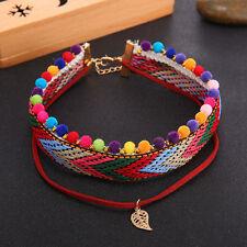 Boho Women Choker Necklace Hippie Bohemian Collar Festival Rainbow Jewellery
