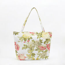 NEW Cotton Tote bag - Knitting craft bag - Zip Beach bag - Market bag - Rose
