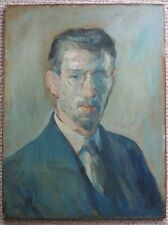 c.1940 Modernist male portrait young man oil painting