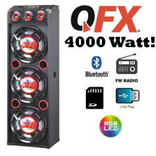 "QFX 3 12"" PA Speaker System 4000W Bluetooth USB SD Player FM Remote EQ"