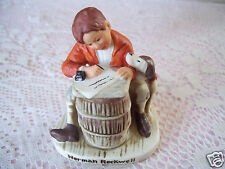 Norman Rockwell Figurine Dave Grossman Design Boy Dog With Book Ceramic