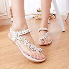 Womens Boho Clip Toe Floral Flat Sandals Casual Ladies Summer Beach Flats Shoes