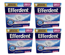 4x Efferdent Anti-Bacteriall Denture Cleaner, Essential Clean 20 ct Tablets New