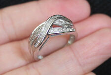 Kay New 10K Sz 7.25 3/8ct Natural Diamond Multi Row Wide band Ring White Gold