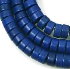 "6mm Turquoise Heishi Rondelle Beads 16""  -  Cobalt / Indigo Blue"