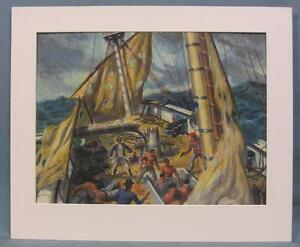 Original Watercolor Painting of a Mutiny Scene by Harry Fisk (1887-1974)