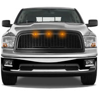 Raptor Matte Black Replacement Mesh Grille+Shell+Amber LED for 09-12 RAM 1500