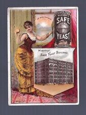 WARNERS SAFE YEAST VICTORIAN TRADE CARD BUXOM WOMAN SUN BUILDING HORSE BUGGY