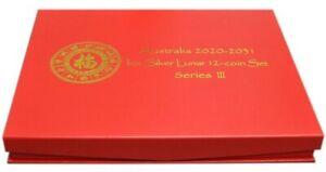 AUSTRALIA 1 OZ SILVER LUNAR SERIES III RED PRESENTATION BOX HOLDS 2020-2031 SET