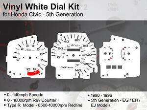 Honda Civic 5th Gen EG (1990 - 1996) - 140mph Type R - Vinyl White Dial Kit