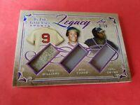 Ted Williams TONY GWYNN ROD CAREW 3 GAME USED JERSEY CARD #d3/10 LEAF LEGACY
