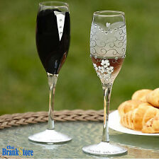 Glass Champagne Flutes 2 Wedding Toasting Glasses Bride & Groom Glassware Decor