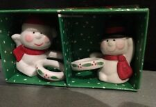 Snowmen Porcelain Candle Climbers Huggers Christmas In Box