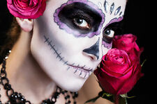 BEAUTIFUL MEXICAN SUGAR SKULL CANVAS PICTURE #35 STUNNING GOTHIC MAKE UP CANVAS