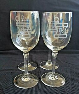 Vintage Apothecary Pharmacy Drugstore 4 Etched Wine Glass Set Distinctive Design