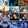 5D Diamond Painting Full Drill Embroidery Crafts Kit Half Moon Shadow Wolf Decor