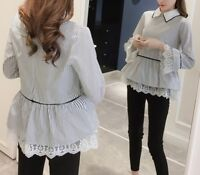 New Women girl Fashion Korean Spring Top Lace Striped Loose Flare Sleeve