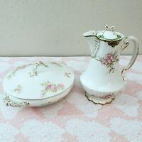 Theodore Haviland Limoges France Pink Flower Gold Trim Porcelain TeaPot & Bowl