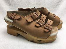 J rubio worishofer spring clog sandal shoes 38 tan leather hippie comfort boho