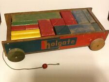 Vintage Holgate Block Set with Wagon & 23 Blocks of different Colors