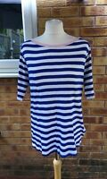 M&S Collection Size 18 3/4 Sleeve T-Shirt Blue White Striped Nautical Theme