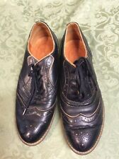 Shoe Embassy wingtip leather Oxfords brogue black tan lace up flat vintage 38