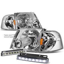 FOR 02-05 EXPLORER U152 CHROME/AMBER SIGNAL HEAD LIGHT LAMP+LED FOG LIGHT KIT