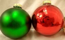 Set of 2 LARGE Mercury Glass Christmas Ornament Balls Red Green Gold Caps