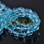 New 50pcs 7X5mm Teardrop Faceted Crystal Glass Spacer Loose Beads Lt Lake Blue