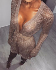 Rose Gold & Silver Knit Long Sleeved Wrap Metallic Mini Dress Size 6-14 Boutique