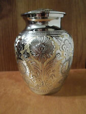"""Smaller Gorgeous Silver & Gold Solid Brass Urn~5""""~28 lbs."""