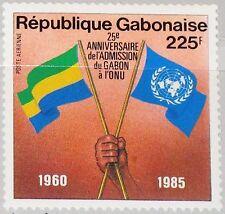 GABON GABUN 1985 942 C270 25th Admission to UN Flags Flaggen Emblem MNH