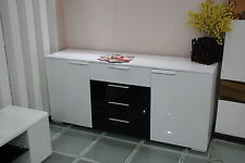 New White High hi Gloss Large Buffet/ Dresser/ Sideboard / Storage 200cm Wide